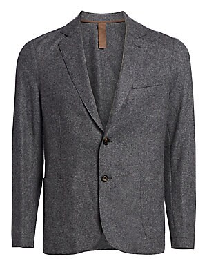 Image of From the Saks IT LIST THE JACKET The wear everywhere layer that instantly dresses you up. From the Bold Collection Handsome laser cut jacket crafted from fine wool Notched lapel Front button closure Long sleeves with barrel cuffs Chest welt pocket Waist p