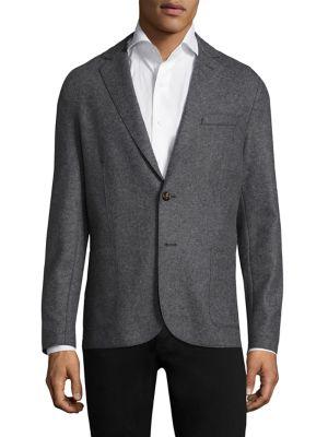 Eleventy Wools Slim-Fit Laser-Cut Notch Lapel Flannel Wool Two-Button Jacket
