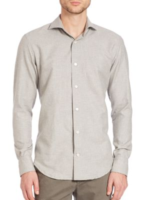 Eleventy Cottons Micro Dot Brushed Cotton Button-Down Shirt