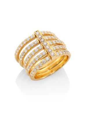 CARELLE Moderne Pavé Diamond & 18K Yellow Gold Penta Midi Ring