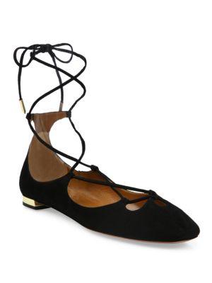 Dancer Suede Lace-Up Flat, Black