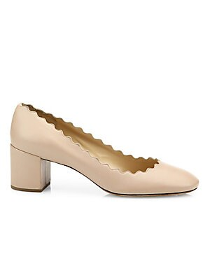 d35fddfb09a1 Chloé - Lauren Scalloped Suede Block Heel Pumps - saks.com