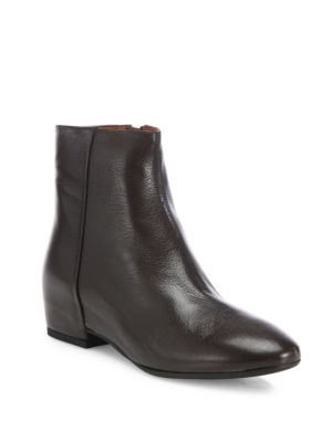 "Image of Grainy leather bootie set on hidden wedge heel. Self-covered hidden wedge heel, 1.38"" (35mm).Leather upper. Round toe. Side zipper. Leather lining. Rubber sole. Padded insole. Made in Italy."