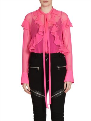 Ruffle Detail Silk Chiffon Blouse by Givenchy