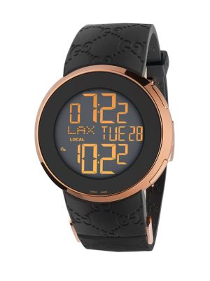 """Image of From the I-Gucci Collection. Digital movement. Water resistant to 5ATM. Round case, 49mm (1.93"""").Smooth bezel. Sapphire crystal. Digital dial. Rubber strap bracelet. Made in Switzerland."""