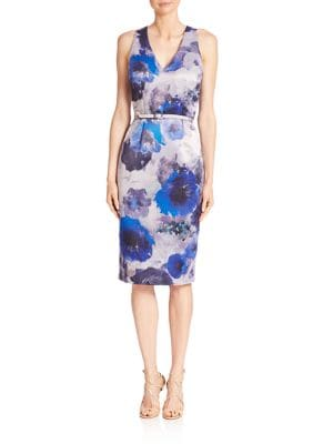 Floral Printed Sheath Dress by David Meister