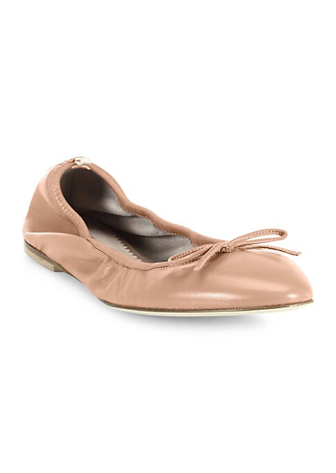 Image of EXCLUSIVELY AT SAKS IN PANAM. Classic ballet flats crafted in buttery leather. Leather upper. Round toe. Slip-on style. Leather lining and sole. Padded insole. Made in Italy.
