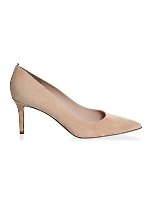 """Image of A contrast stripe elevates these urbane suede pumps Self-covered heel, 2.75"""" (70mm) Suede upper Point toe Leather lining and sole Padded insole Made in Italy. Women's Shoes - Contemporary Womens Shoe. SJP by Sarah Jessica Parker. Color: Black. Size: 35 (5"""