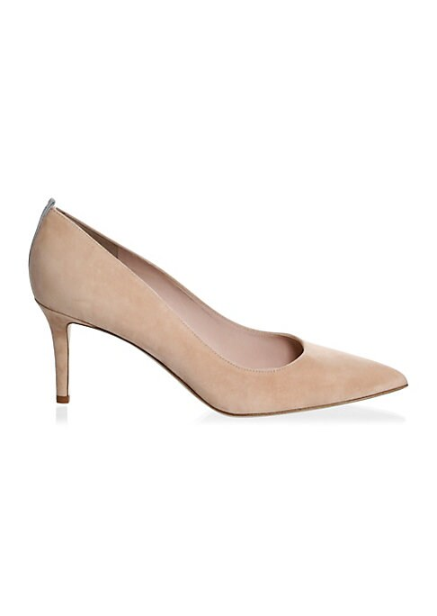 """Image of A contrast stripe elevates these urbane suede pumps. Self-covered heel, 2.75"""" (70mm).Suede upper. Point toe. Leather lining and sole. Padded insole. Made in Italy."""