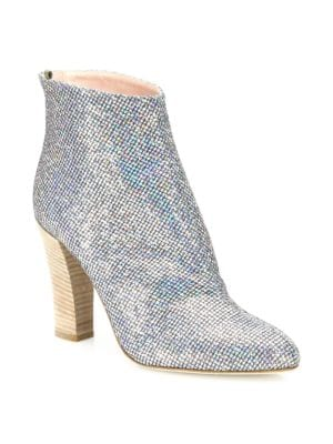 SJP BY SARAH JESSICA PARKER Minnie 100Mm Sparkle Sequined Almond-Toe Bootie in Silver