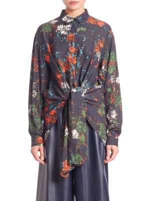 Floral Print Tie Front Blouse by