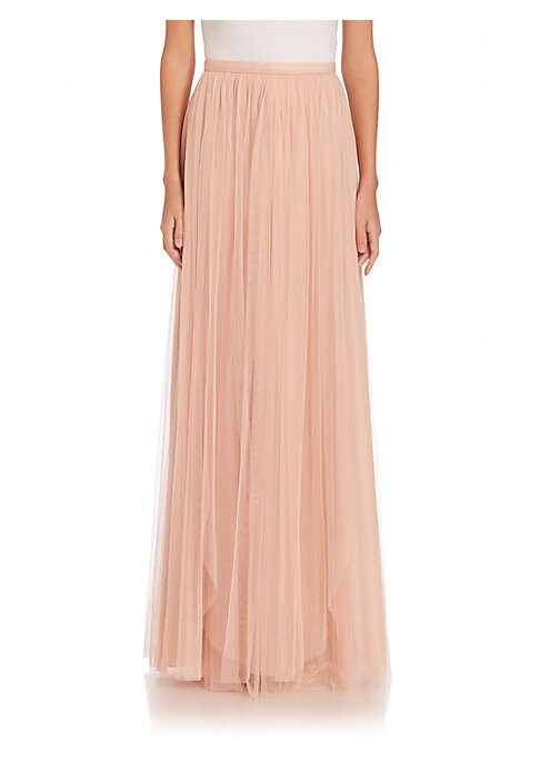 """Image of Statement-making skirt in ethereal tulle. Banded waist. Concealed back zip. Lined. About 47"""" long. Polyester. Dry clean. Imported. Model shown is 5'10"""" (177cm) wearing US size 4."""