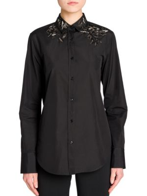 Embroidered Cotton Poplin Shirt by Jil Sander