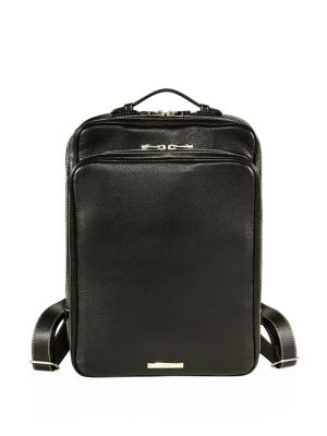 SKITS Cambridge Pebble Grain Leather Tech Backpack in Black
