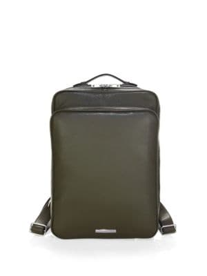 SKITS Cambridge Pebble Grain Leather Tech Backpack in Olive