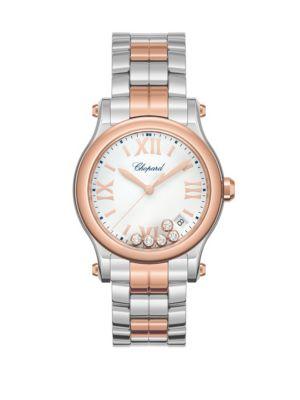 Chopard Happy Sport Diamond 18k Rose Gold Stainless Steel Bracelet Watch
