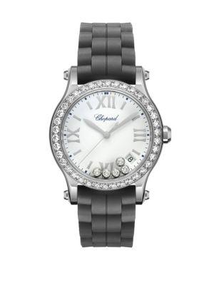 CHOPARD 36 Mm Happy Sport Medium Stainless Steel Watch With Diamonds in Black