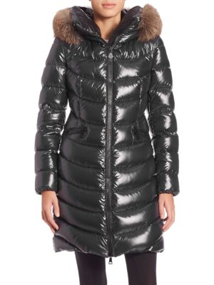 Albizia Quilted Down Coat With Fur-Trimmed Hood, Black