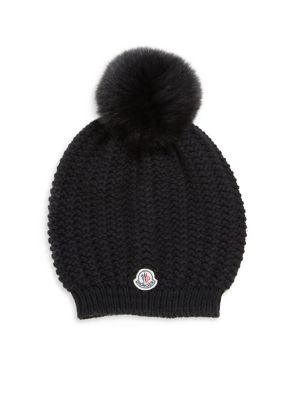 Image of Wide rib-knit wool beanie with front logo patch. Wool. Dry clean. Made in Italy.
