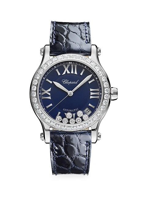 Happy Sport Diamond Stainless Steel & Leather Strap Watch