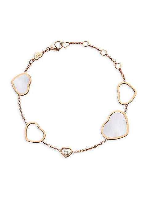 Happy Hearts 18K Rose Gold Mother-Of-Pearl & Diamond Charm Bracelet