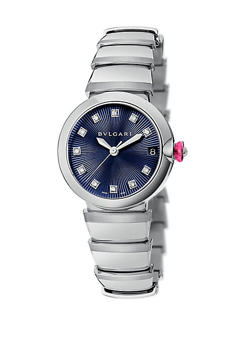 """Image of From the LVCEA Collection. Elegant bracelet watch with blue dial and diamond indexes. Mechanical movement with automatic winding. Water resistant to 5 ATM. Round polished stainless steel case, 33mm (1.3"""").Stainless steel bezel. Blue dial with guilloche so"""