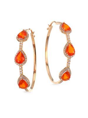 Bavna Mexican Fire Opal 18k Rose Gold Hoop Earrings In Orange