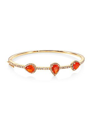 """Image of A slim bangle in 18K rose gold set with diamonds and fire opals Mexican fire opals, 1.97 tcw Diamonds, 1.02 tcw 18K rose gold Diameter, 2.5"""" Box tongue close with safety Imported. Fine Jewelry - Fine Designer Jewelry C > Saks Fifth Avenue. Bavna. Color: R"""