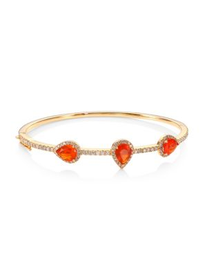 "Image of A slim bangle in 18K rose gold set with diamonds and fire opals. Mexican fire opals, 1.97 tcw. Diamonds, 1.02 tcw.18K rose gold. Diameter, 2.5"".Box tongue close with safety. Imported."