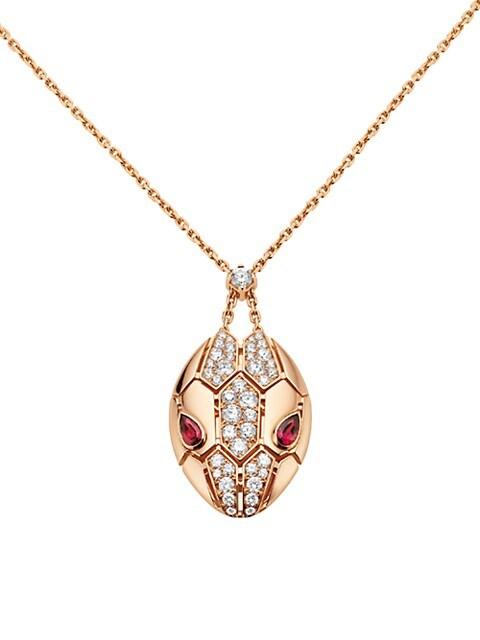 Serpenti Seduttori 18K Rose Gold, Diamond & Rubellite Pendant Necklace