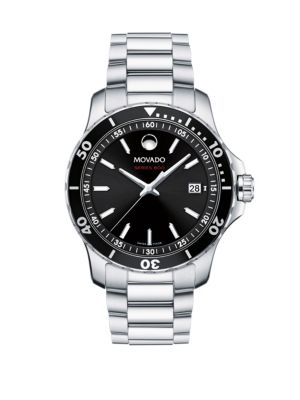 800 Series Stainless Steel & Aluminum Bracelet Watch, Silver Black
