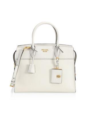 fac6da597ffc Prada Medium Saffiano + City Leather Explanade Tote In White ...