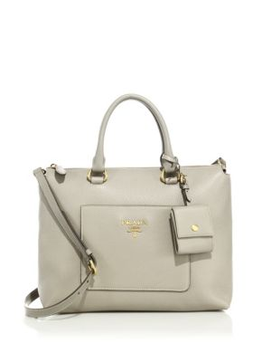 """Image of Rich pebbled leather shapes structured silhouette. Double top handles. Removable, adjustable crossbody strap. Zip top. Goldtone hardware. One outside open pocket. One inside zip pocket. Fully lined.12""""W X 9""""H X 5.5""""D.Leather. Made in Italy."""