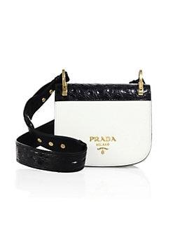 973571f50b1a QUICK VIEW. Prada. Pionnière Leather   Crocodile Saddle Bag