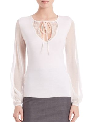 Malia Merino Wool Sheer Sleeve Top by Elie Tahari
