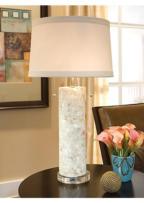 """Image of A Lucite base highlights this sophisticated table lamp featuring an aesthetic mother-of-pearl column. About 15""""x29""""x15"""".Mother-of-Pearl. Imported."""
