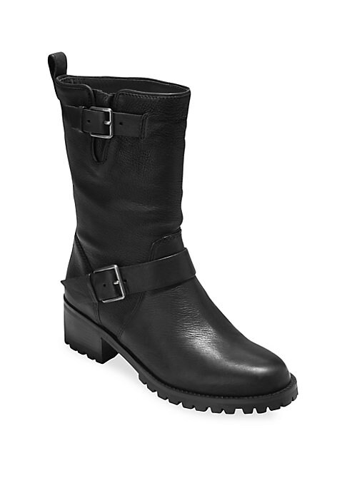 """Image of Burnished leather moto boots with double buckle details. Leather upper. Round toe. Grand. OS technology. Pull-on with adjustable buckle style. Back pull tab. Leather lining. Rubber lug sole. Imported. SIZE. Stacked heel, 1.75"""" (45mm).Shaft, 8"""".Leg opening"""