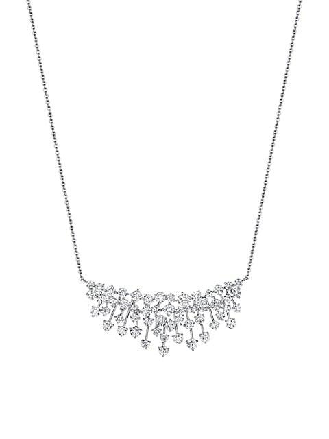 Luminus 18K White Gold & Diamond Cluster Pendant Necklace
