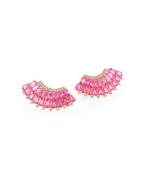 Hueb Mirage Diamond Pink Sapphire Ear Crawlers