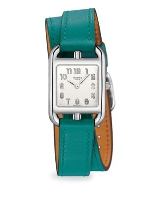 HERMÈS WATCHES Cape Cod, Stainless Steel & Leather Strap Watch in Green