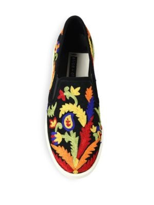 ALICE AND OLIVIA Suedes Ava Embroidered Suede Skate Sneakers