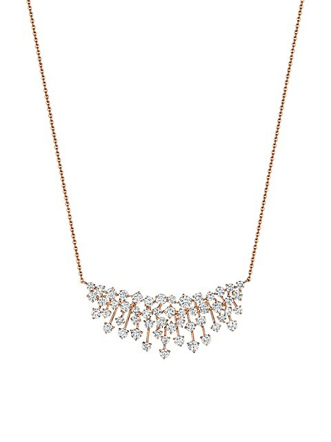 Luminus 18K Rose Gold & Diamond Cluster Pendant Necklace