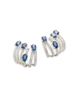 Hueb Spectrum Diamond, Blue Sapphire & 18K White Gold Ear Cuffs
