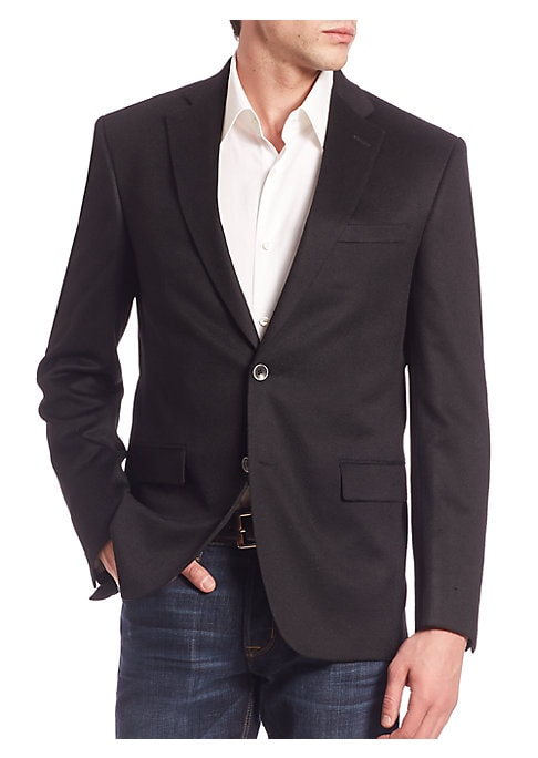 Image of From the Saks IT LIST. THE JACKET. The wear everywhere layer that instantly dresses you up. EXCLUSIVELY OURS. Dapper blazer impeccably tailored from rich cashmere. Notch lapels. Long sleeves with buttoned cuffs. Front two-button closure. Chest welt pocket