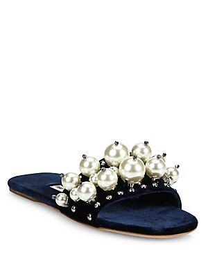 27282ffad9a3 Miu Miu - Pearl-Embellished Velvet Slides - saks.com