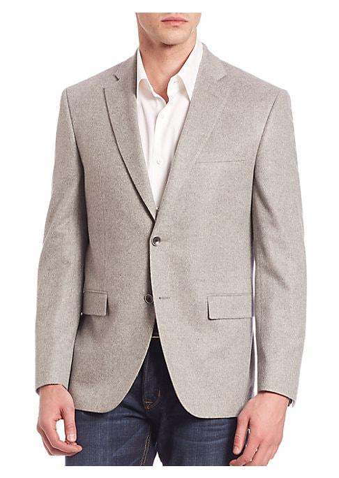 Image of From the Saks IT LIST. THE JACKET. The wear everywhere layer that instantly dresses you up. EXCLUSIVELY OURS. Striking blazer crafted from lightweight cashmere. Notched lapels. Front button closure. Chest welt pocket. Long sleeves with buttoned cuffs. Wai