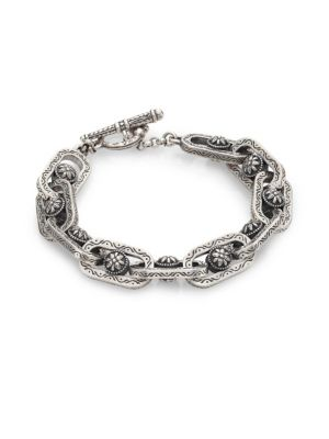 """Image of From the Penelope Collection. Etched link bracelet with floral medallion detail. Sterling silver. Length, about 7.5"""".Toggle closure. Made in Greece."""