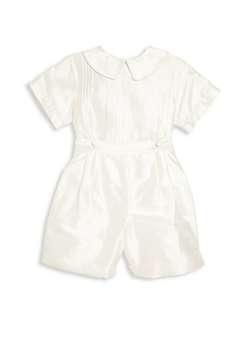 Image of From the Special Occasion Collection. Dress your little gentleman for the big day in this charming collared shirt and shorts set. Cotton/silk. Hand wash. Imported. Shirt:.Peter Pan collar. Short sleeves. Front pleats. Buttons at front and back hem. Back b