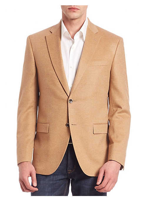 Image of From the Saks IT LIST. THE JACKET. The wear everywhere layer that instantly dresses you up. EXCLUSIVELY OURS. Smartly tailored blazer in rich cashmere fabric. Notched lapels. Two-button front. Long sleeves with buttoned cuffs. Chest welt pocket. Waist fla