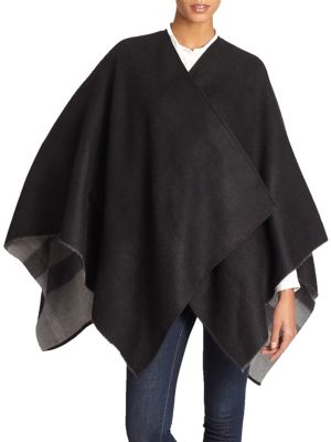 BURBERRY CHARLOTTE REVERSIBLE CHECK WOOL CAPE, NA